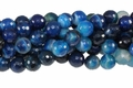 Blue Stripe Agate 10mm Faceted Round Beads 16""
