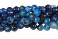 Blue Stripe Agate 12mm Faceted Round Beads 40 cm