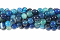 Blue Stripe Agate 8mm Round Beads 16""