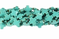 Blue Turquoise Magnesite 15mm Cross Shaped Beads 15.5""