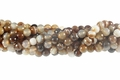 Brown Banded Agate 8mm Faceted Round Beads 16""