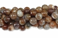 Brown Stripe Agate 10mm Faceted Round Beads 16""