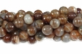 Brown Stripe Agate 12mm Faceted Round Beads 40 cm