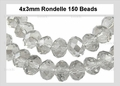 Clear Crystal 3x4mm Faceted Rondelle Beads 150 pcs.