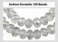 Clear Crystal 4x6mm Faceted Rondelle Beads 100 pcs.