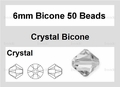 Clear Crystal 6mm Faceted Bicone Beads 50 pcs.