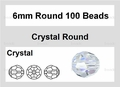 Clear Crystal 6mm Faceted Round Beads 100 pcs.