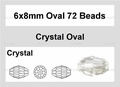 Clear Crystal 6x8mm Faceted Rice Beads 72 pcs.