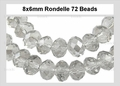 Clear Crystal 8mm Faceted Rondelle Beads 68-72 pcs.