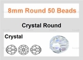 Clear Crystal 8mm Faceted Round Beads 50 pcs.