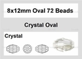 Clear Crystal 8x12mm Faceted Rice Beads 72 pcs.