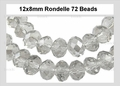 Clear Crystal 8x12mm Faceted Rondelle Beads 72 pcs.
