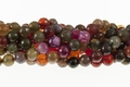 Fire Agate 10mm Faceted Round Beads 15.5""