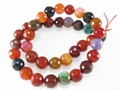Fire Agate Mix Color 10mm Faceted Round Beads 16""