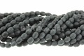 Frosted Black Onyx Obsidian 4x6mm Rice Beads 16""
