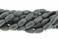 Frosted Black Onyx Obsidian 6x12m Rice Beads 16""