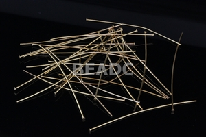 "55mm 2.15"" Metal Gold Plated Headpin 10 Gram Approx.50pcs (Thick 0.7mm 0.29"", Head 2mm 0.08"")"