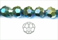 Greem AB Iris Crystal 12mm Faceted Round Beads 50 pcs.