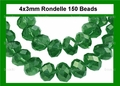 Green Emerald Crystal 3x4mm Faceted Rondelle Beads 150 pcs.