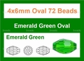 "Green Emerald Crystal 4x6mm AB Faceted Rice 72 Beads (approx.17"")"