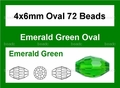 Green Emerald Crystal 4x6mm Faceted Rice Beads 72 pcs.