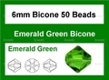 Green Emerald Crystal 6mm Faceted Bicone Beads 50 pcs.
