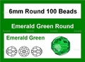Green Emerald Crystal 6mm Faceted Round Beads 100 pcs.
