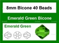 Green Emerald Crystal 8mm Faceted Bicone Beads 40 pcs.