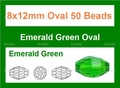 "Green Emerald Crystal 8x12mm Faceted Rice 50 Beads (approx.22"")"