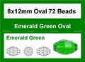 Green Emerald Crystal 8x12mm Faceted Rice Beads 72 pcs.