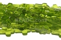 "Green ""Quartz"" 12x16mm Cross Shaped Beads 16"""