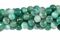 Green Stripe Agate 10mm Faceted Round Beads 16""