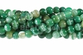 Green Stripe Agate 8mm Round Beads 16""