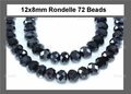 Grey AB Iris Crystal 8x12mm Faceted Rondelle Beads 72 pcs.