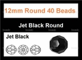 Jet Black Crystal 12mm Faceted Round Beads 40 pcs.