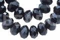 Jet Black Crystal 3x4mm Faceted Rondelle Beads 150 pcs.