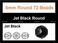 Jet Black Crystal 6mm Faceted Round Beads 72 pcs.