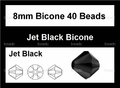 Jet Black Crystal 8mm Faceted Bicone Beads 40 pcs.
