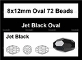 Jet Black Crystal 8x12mm Faceted Rice Beads 72 pcs.