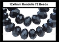 Jet Black Crystal 8x12mm Faceted Rondelle Beads 72 pcs.