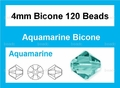 Light Turquoise Crystal 4mm Faceted Bicone Beads 120 pcs.