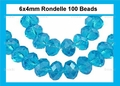 Light Turquoise Crystal 4x6mm Faceted Rondelle Beads 100 pcs.