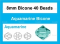 Light Turquoise Crystal 8mm Faceted Bicone Beads 40 pcs.