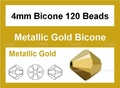 Metalic Gold Crystal 4mm Faceted Bicone Beads 120 pcs.