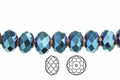 Metallic Blue Crystal 3x4mm Faceted Rondelle Beads 100 pcs.