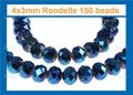 Metallic Blue Crystal 3x4mm Faceted Rondelle Beads 150 pcs.
