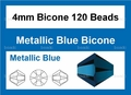 Metallic Blue Crystal 4mm Faceted Bicone Beads 120 pcs.