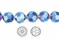 Metallic Blue Crystal 4mm Faceted Round Beads 100 pcs.