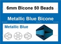 Metallic Blue Crystal 6mm Faceted Bicone Beads 50 pcs.