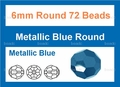 Metallic Blue Crystal 6mm Faceted Round Beads 72 pcs.